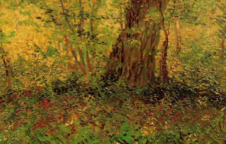 Photo wallpaper nature, tree, weed, Vincent van Gogh, Undergrowth 2