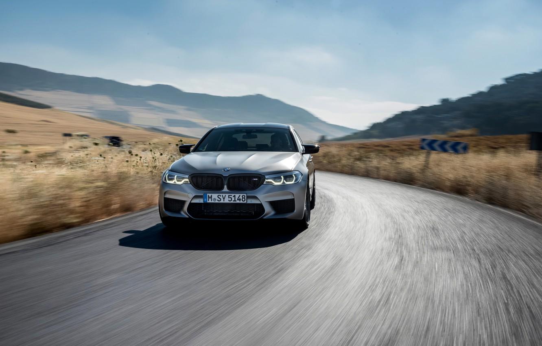 Photo wallpaper road, grey, movement, speed, BMW, sedan, 4x4, 2018, four-door, M5, V8, F90, M5 Competition