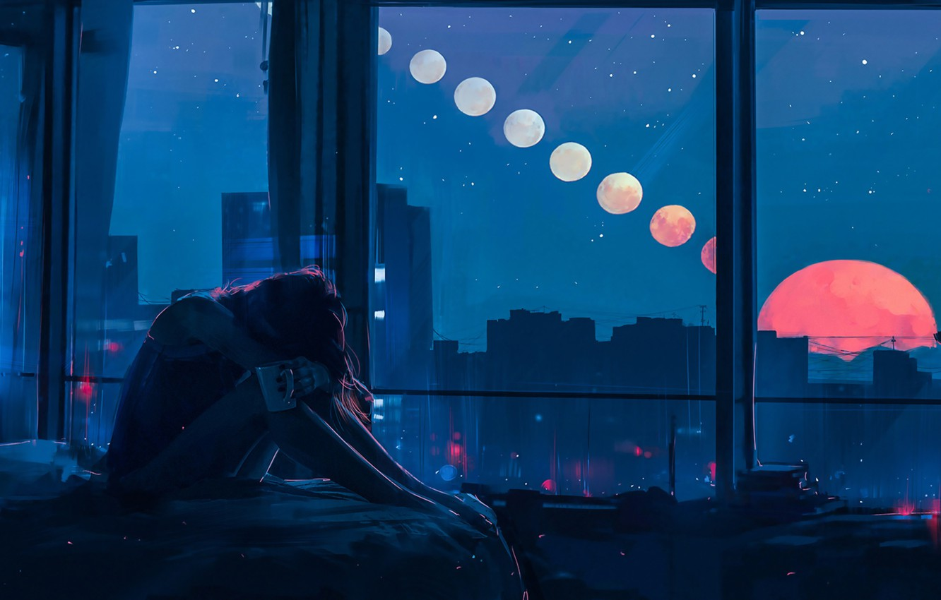 Photo wallpaper Girl, Night, Figure, The moon, Windows, Alena Aenam The, by Alena Aenami, Aenami Art