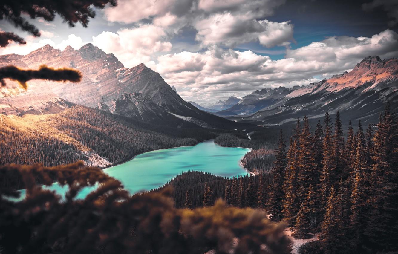 Photo wallpaper mountains, Nature, lake