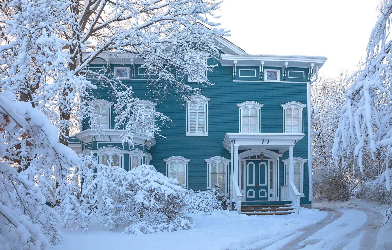 Photo wallpaper winter, road, snow, trees, landscape, nature, house, Antonina Janowska