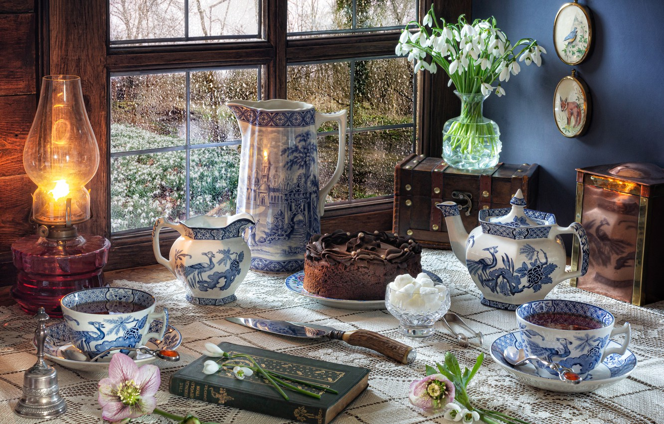 Photo wallpaper flowers, style, lamp, kettle, window, snowdrops, Cup, cake, book, mugs, pitcher, still life, set, chest