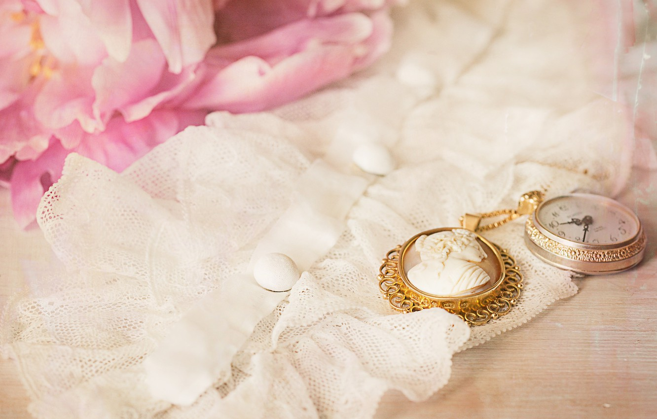 Photo wallpaper watch, fabric, vintage, cameo