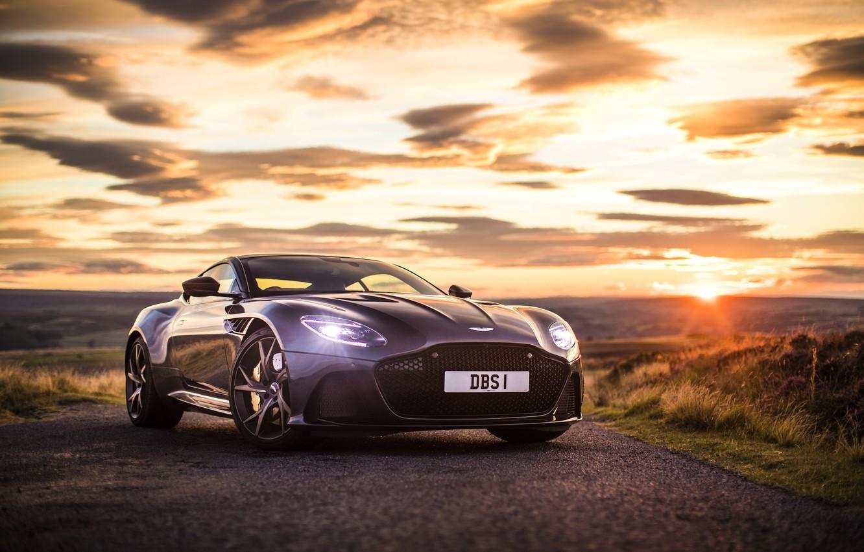 Photo wallpaper Aston Martin, Sunset, The sky, DBS, Superleggera