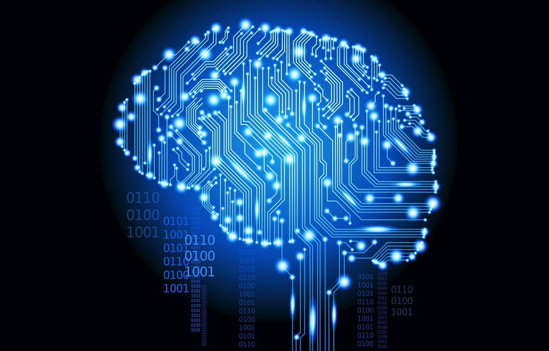 Photo wallpaper chip, brain, binary code, zeros, unit