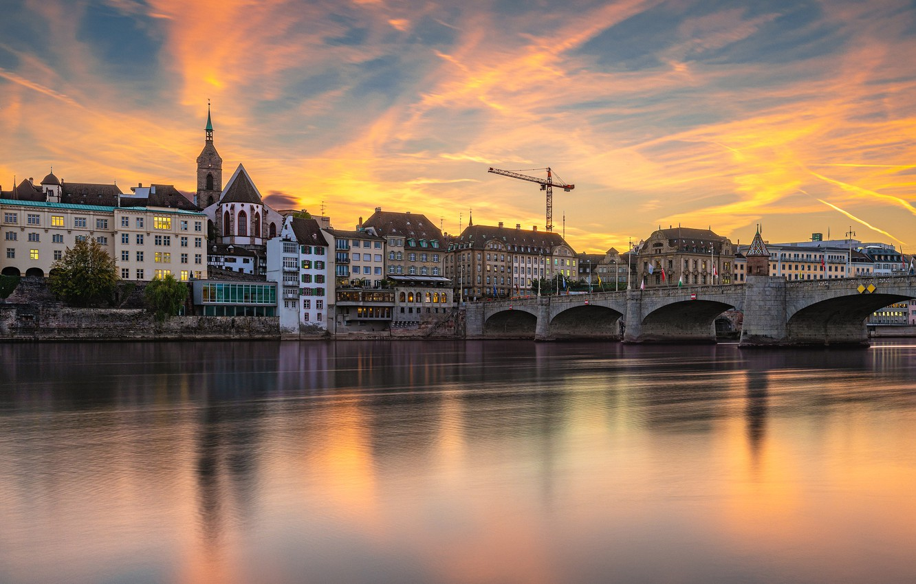 Photo wallpaper sunset, bridge, river, building, home, Switzerland, Switzerland, Basel, Basel, Rhine River, The Rhine River, Middle …