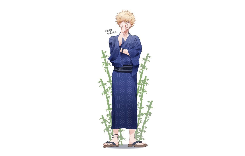 Photo wallpaper grass, white background, guy, Boku no Hero Academy, My hero Academy, Bakusou Katsuki, Bakugou Katsuki