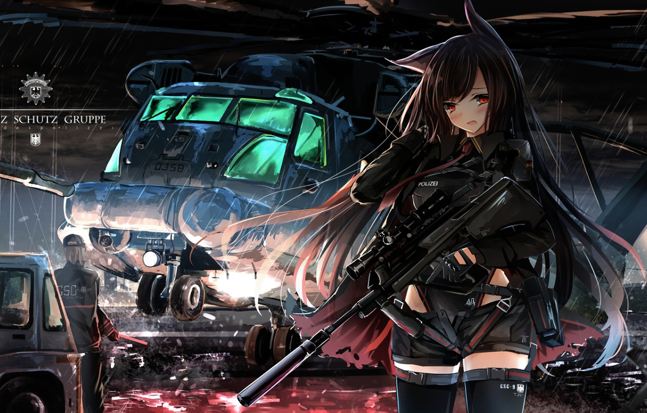 Photo wallpaper girl, weapons, helicopter