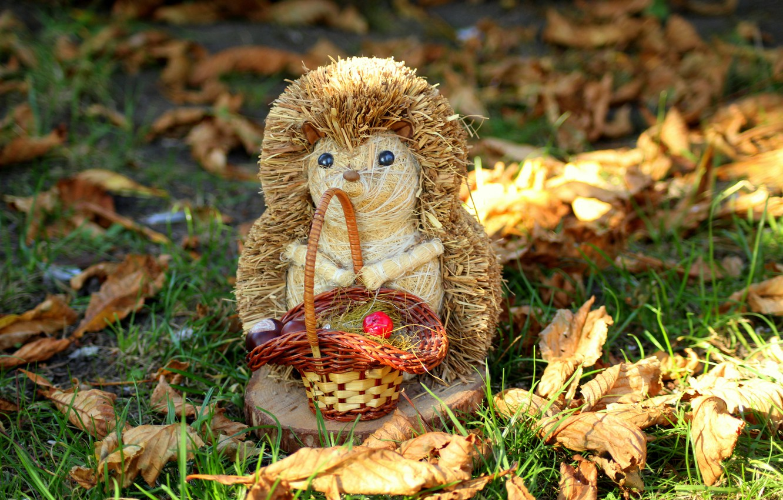 Photo wallpaper autumn, leaves, hedgehog, figure