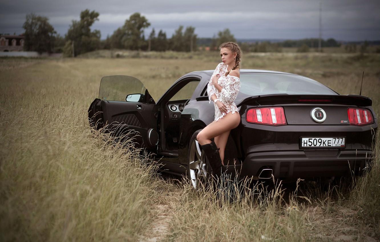Photo wallpaper car, Ford, Shelby, girl, Ford Mustang, long hair, dress, legs, field, photo, photographer, model, lips, …