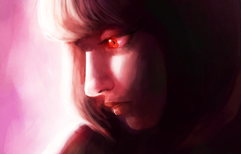 Photo wallpaper girl, red eye, the pensive look