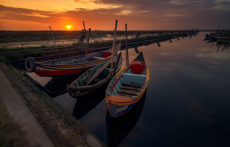 Photo wallpaper sunset, boats, the evening, pier, pierce
