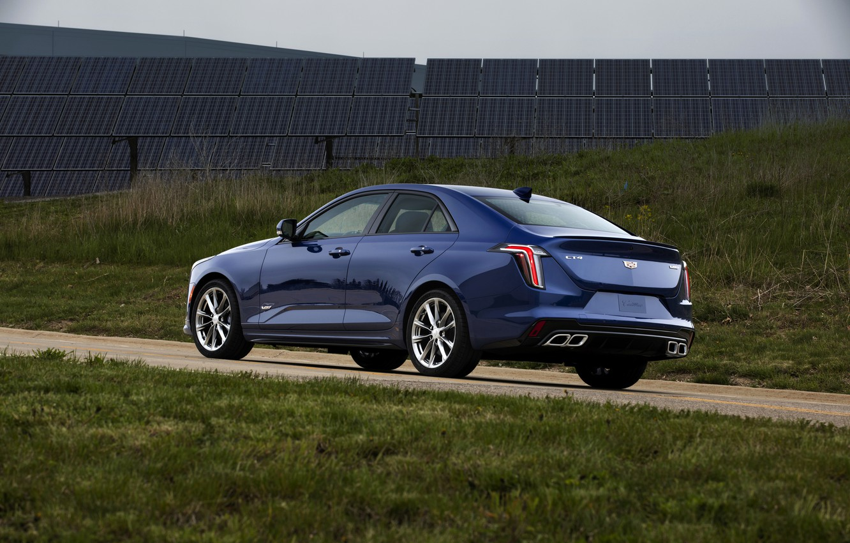 Photo wallpaper blue, Cadillac, sedan, four-door, 2020, CT4-V