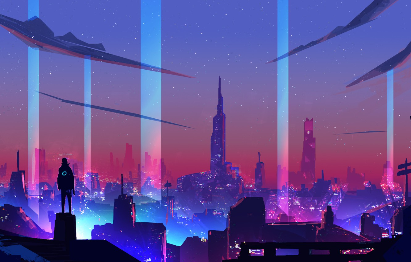 Photo wallpaper Night, The city, Style, City, Fantasy, Art, Style, Neon, Illustration, Surreal, Cyberpunk, Synth, Environments, Retrowave, …