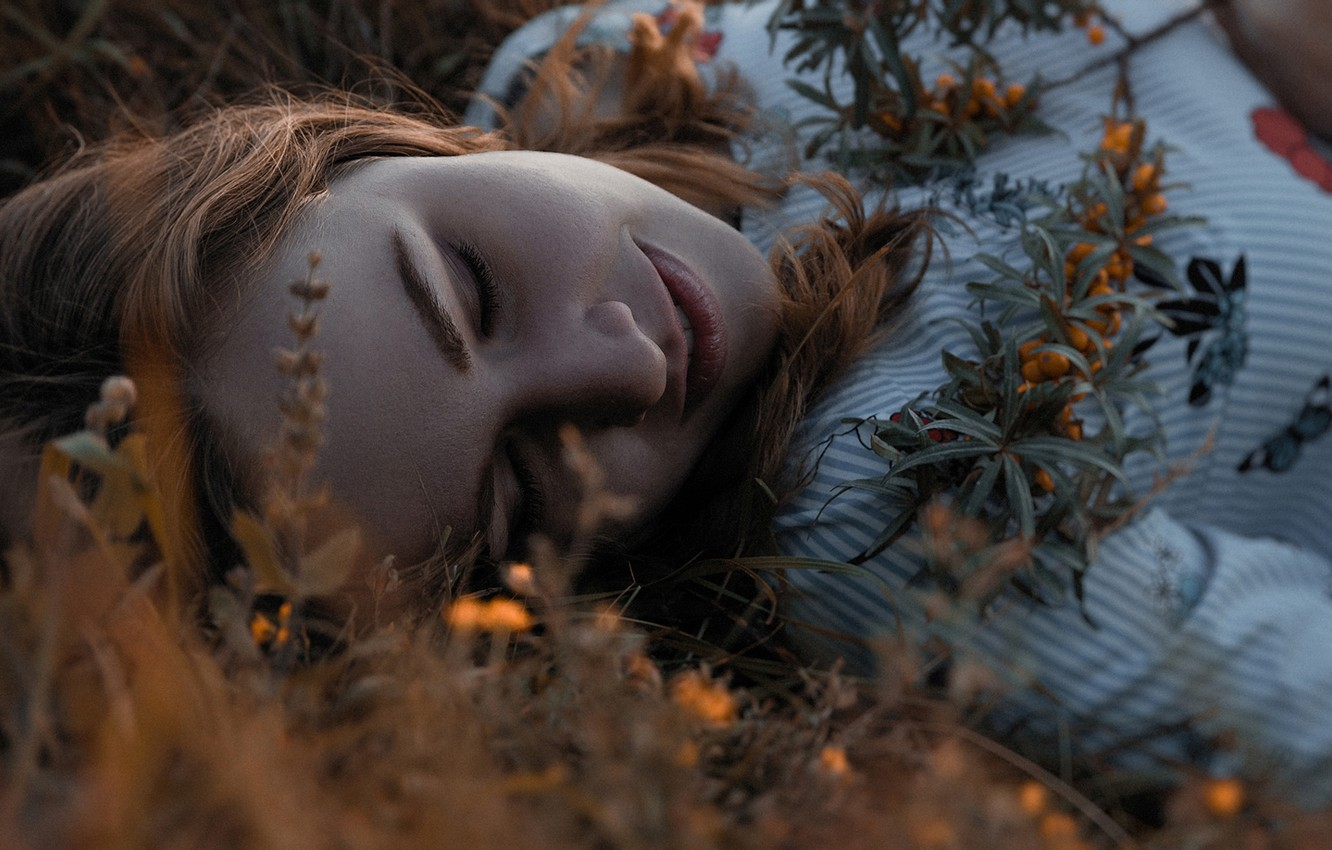 Photo wallpaper grass, girl, face, berries, sprig, stay, closed eyes, oblepiha, Peter Akimkin