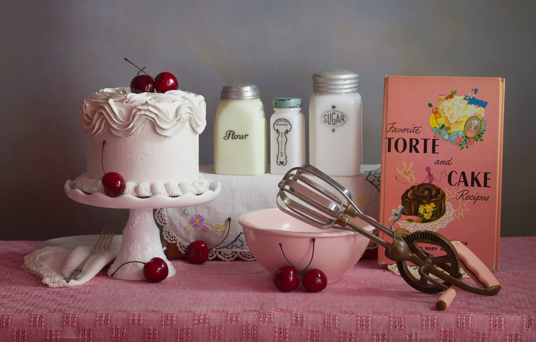 Photo wallpaper white, cherry, table, wall, pink, food, jars, cake, sugar, book, bowl, grey background, cream, dessert, …
