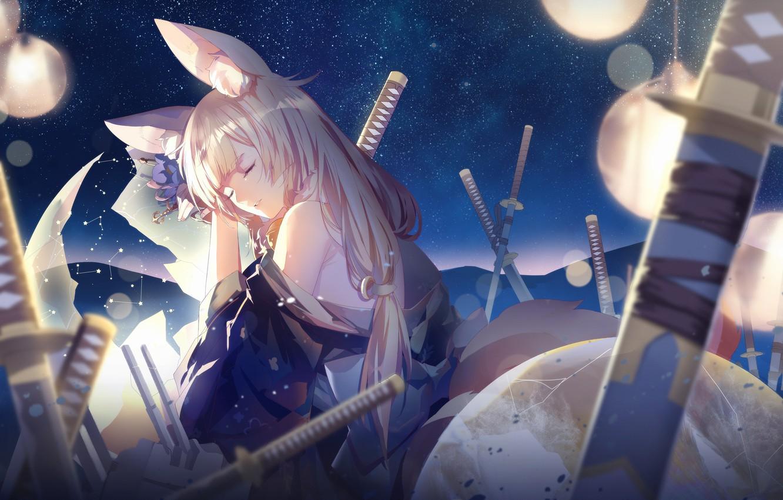 Photo wallpaper girl, night, sword, sleeping, ears