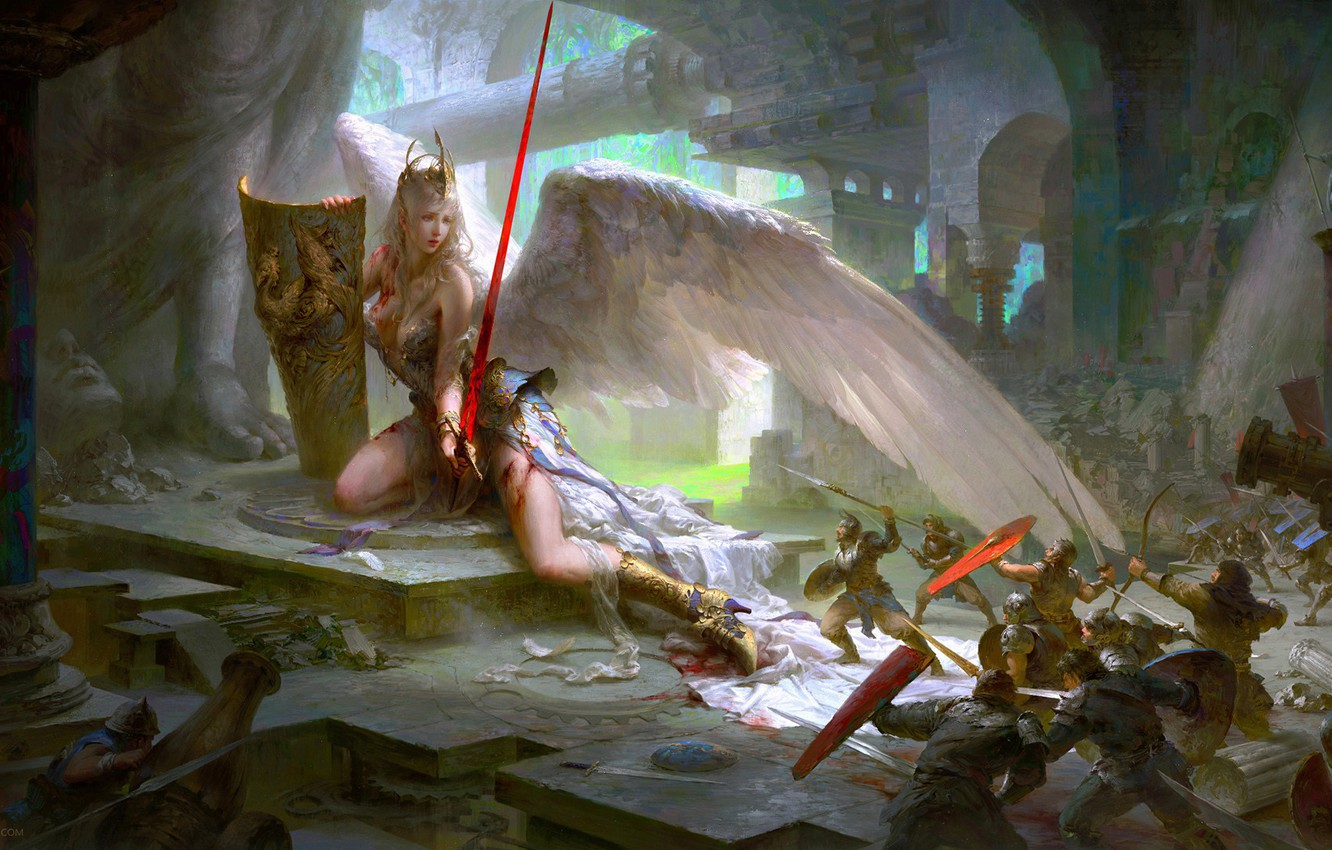 Photo wallpaper blood, destruction, sword, attack, temple, battle, the battle, shield, injured, statues, peaks, army, white wings, …