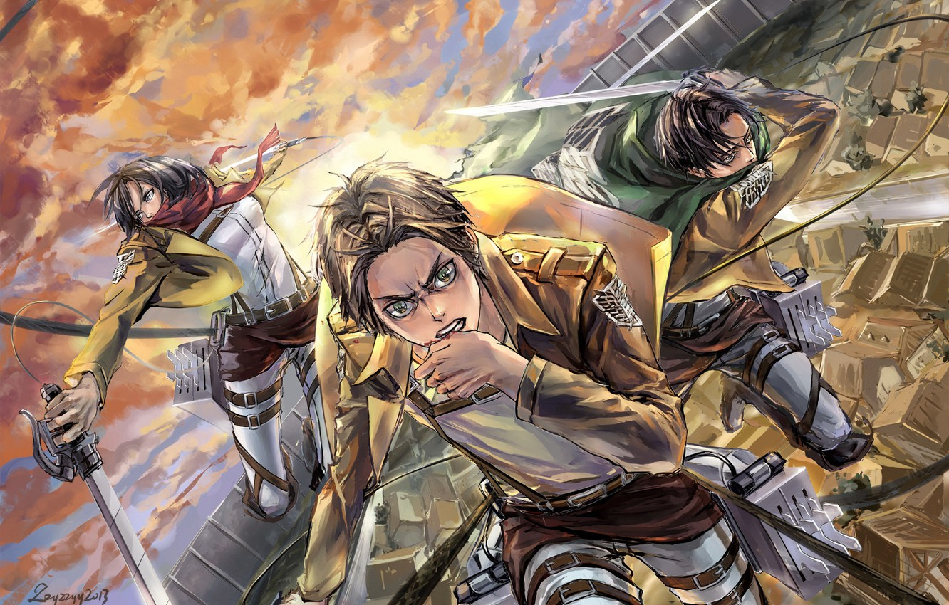 Wallpaper Attack Emblem Swords Military Uniform Mikasa Ackerman Eren Yeager The Invasion Of The Giants Levi Ackerman The Roofs Of The Houses Shingeki No Kyojin Attack On Titan Images For Desktop