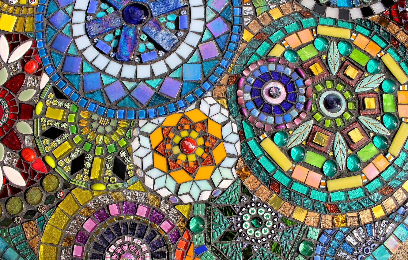 Photo wallpaper surface, design, mosaic, wall, pattern, texture, stained glass, ornament