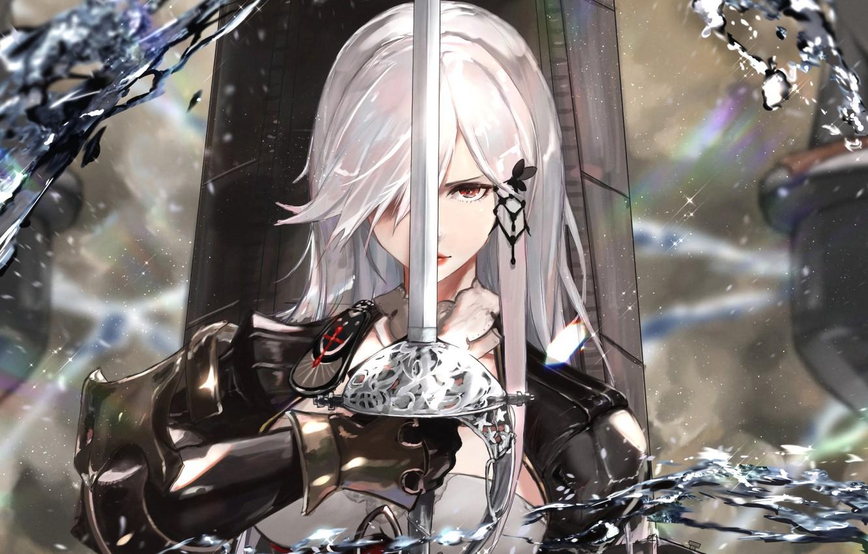 Photo wallpaper girl, sword, knight