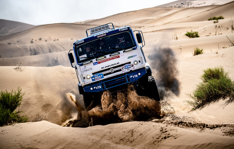 Photo wallpaper Sand, Auto, Sport, Machine, Truck, Race, Master, Russia, Race, Russia, Kamaz, Rally, KAMAZ-master, Rally, Truck, …