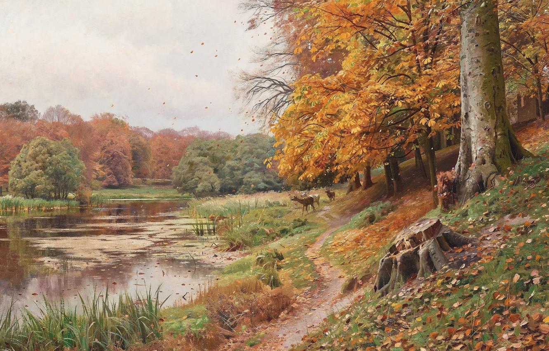 Photo wallpaper 1918, Danish painter, Peter Merk Of Menstad, Peder Mørk Mønsted, Danish realist painter, Autumn day …