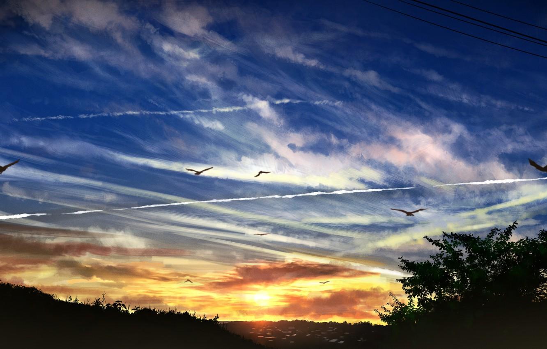 Photo wallpaper Nature, Dawn, Landscape, gensuke