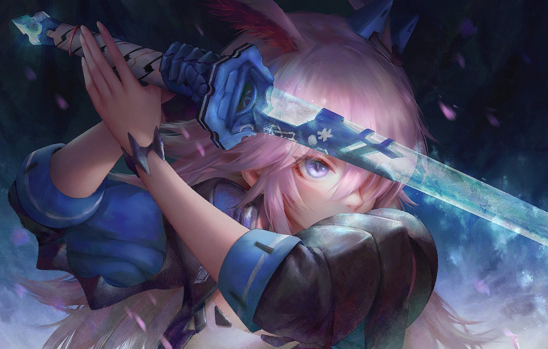 Photo wallpaper girl, sword, pink hair, weapon, anime, purple eyes, samurai, artwork, warrior, anime girl, Honkai Impact