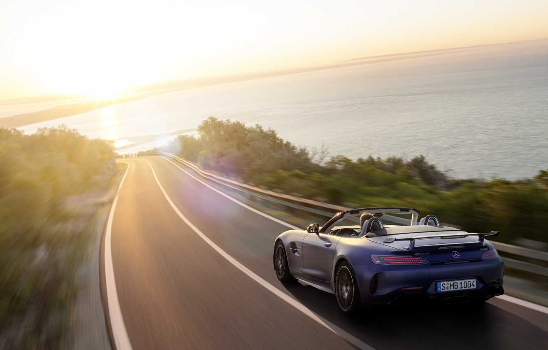 Photo wallpaper machine, asphalt, water, the sun, Mercedes-Benz, speed, Roadster, GT R, Mercedes-AMG