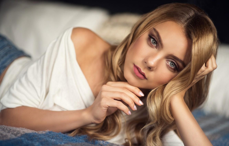 Photo wallpaper look, girl, face, pose, hair, portrait, hands, Natalia Magicka, Eugene Evseeva