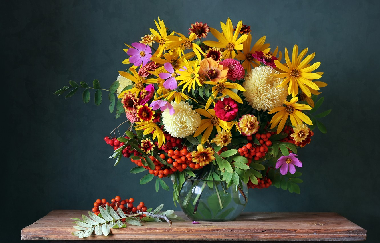 Photo wallpaper autumn, flowers, berries, bouquet, colorful, still life, flowers, autumn, still life, bouquet