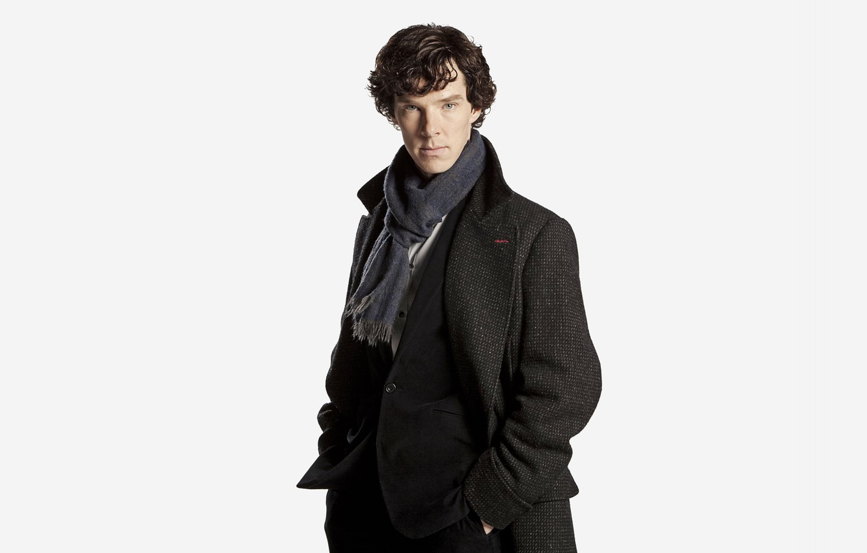 Photo wallpaper white background, coat, Benedict Cumberbatch, Sherlock, Sherlock BBC, Sherlock Holmes, detective, Sherlock (TV series)