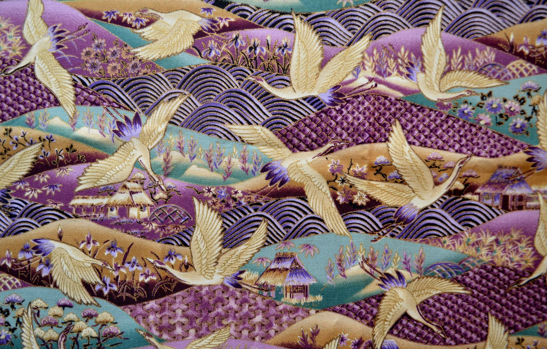 Photo wallpaper landscape, birds, background, patterns, figure, texture, fabric, textiles