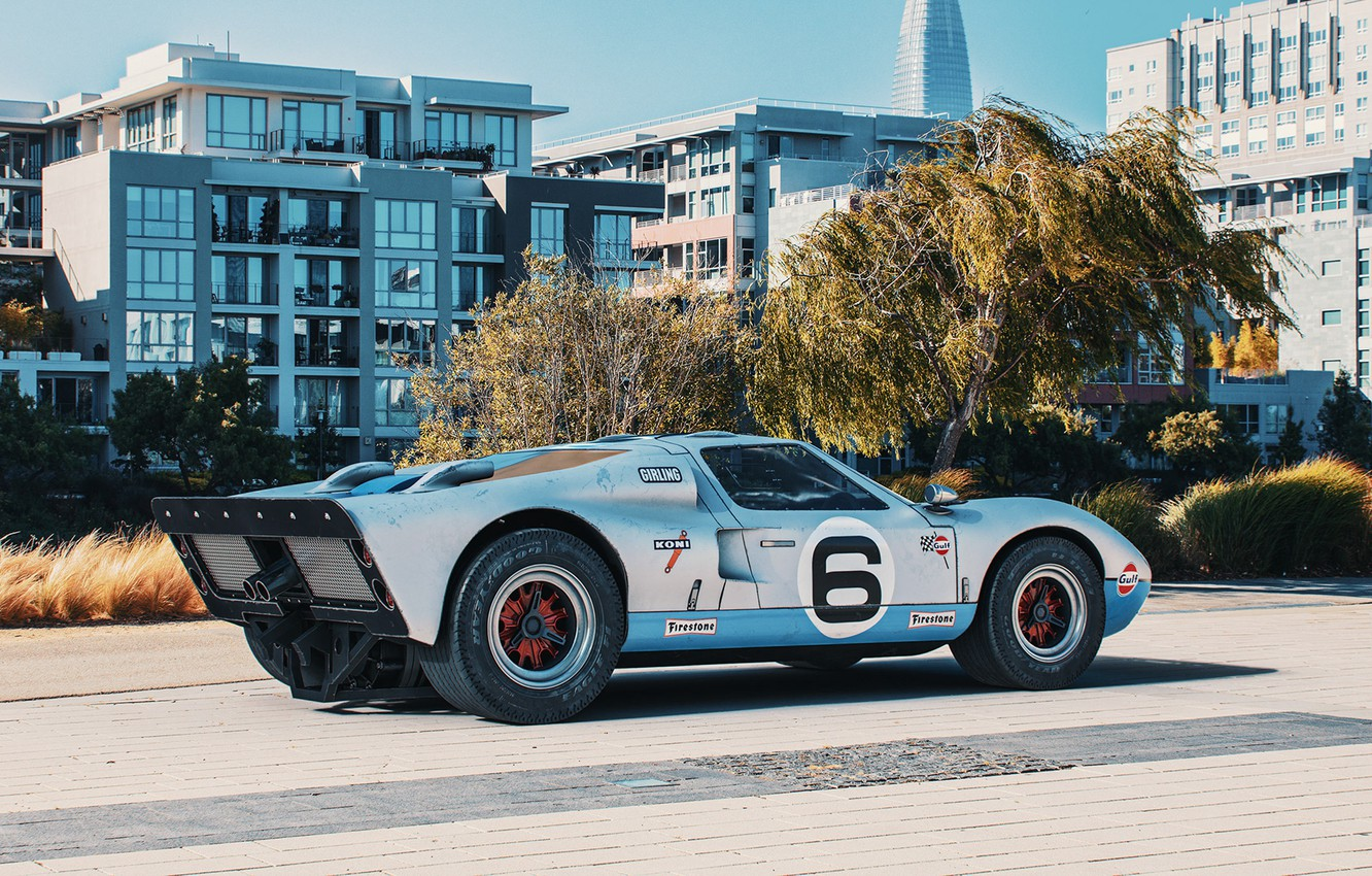 Photo wallpaper trees, transport, building, car, 1966 Ford GT40 MkII