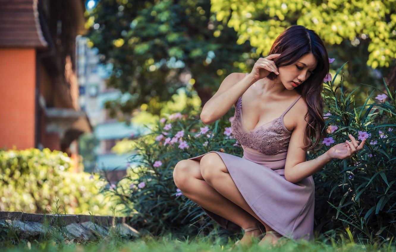 Photo wallpaper girl, dress, Asian, bokeh