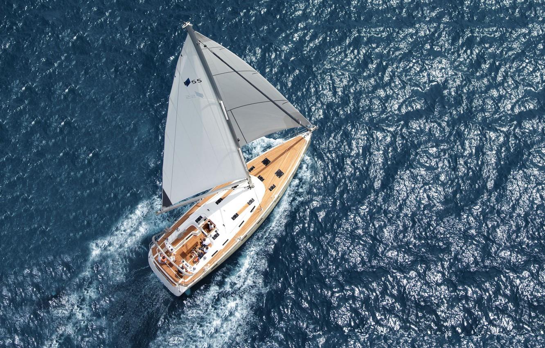 Photo wallpaper sea, the way, yacht, sail, aerial view