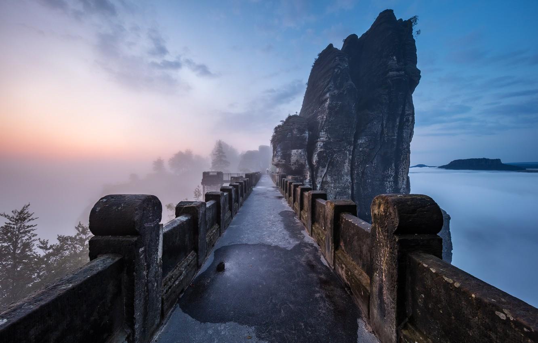 Photo wallpaper landscape, mountains, bridge, nature, fog, rocks, morning, Germany, Saxon Switzerland, array, Bastei, Martin Rak, Bastei