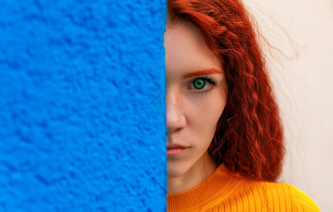 Photo wallpaper look, girl, face, wall, portrait, red, redhead, Artem Semakin