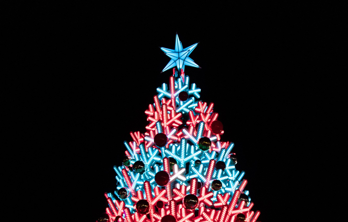 Photo wallpaper decoration, holiday, toys, star, New year, tree, illumination