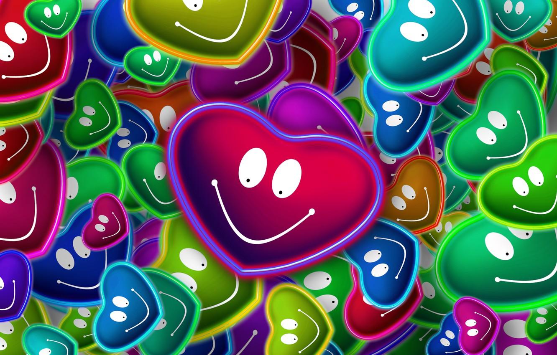 Photo wallpaper love, hearts, smile