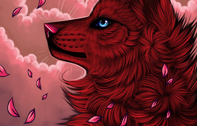 Photo wallpaper petals, myarukawolf, by myarukawolf, red wolf