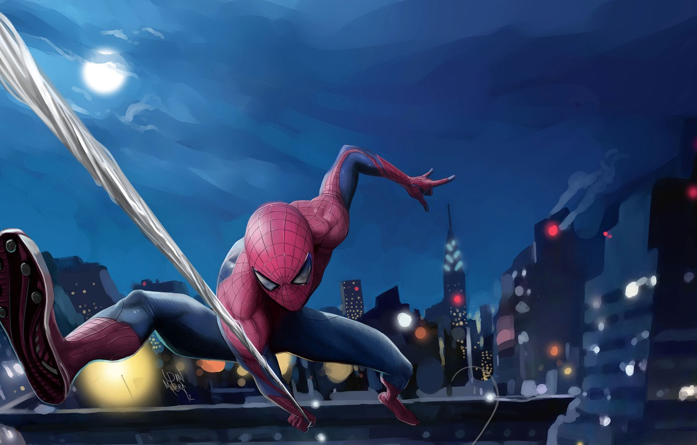 Photo wallpaper the sky, night, the city, lights, fiction, the moon, home, web, art, costume, superhero, comic, …