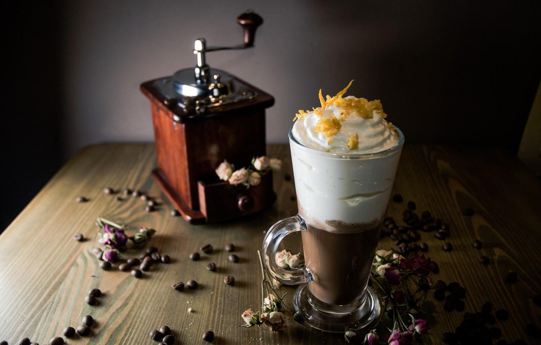 Photo wallpaper coffee, cream, ice cream, dessert, wood, coffee beans, coffee grinder, iced