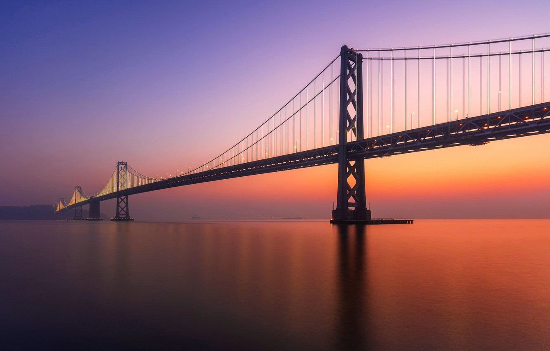 Photo wallpaper sunset, bridge, California, San Francisco, Pier
