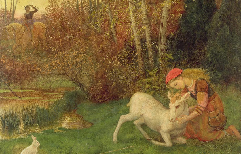 Photo wallpaper hare, Arthur Hughes, The white DOE, ок1870