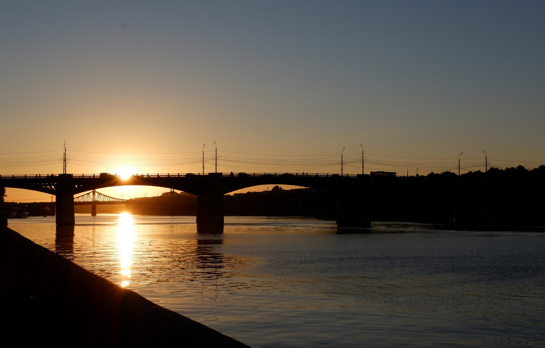 Photo wallpaper summer, sunset, bridge, river, dark