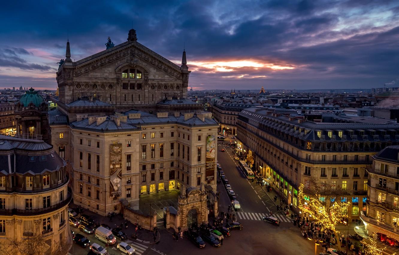 Photo wallpaper France, Paris, building, road, home, the evening, Paris, Opera Garnier, France, Grand Opera, Opera Garnier, …