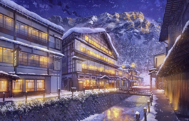 Photo wallpaper Winter, Mountains, Night, The city, Snow, Street, Landscape