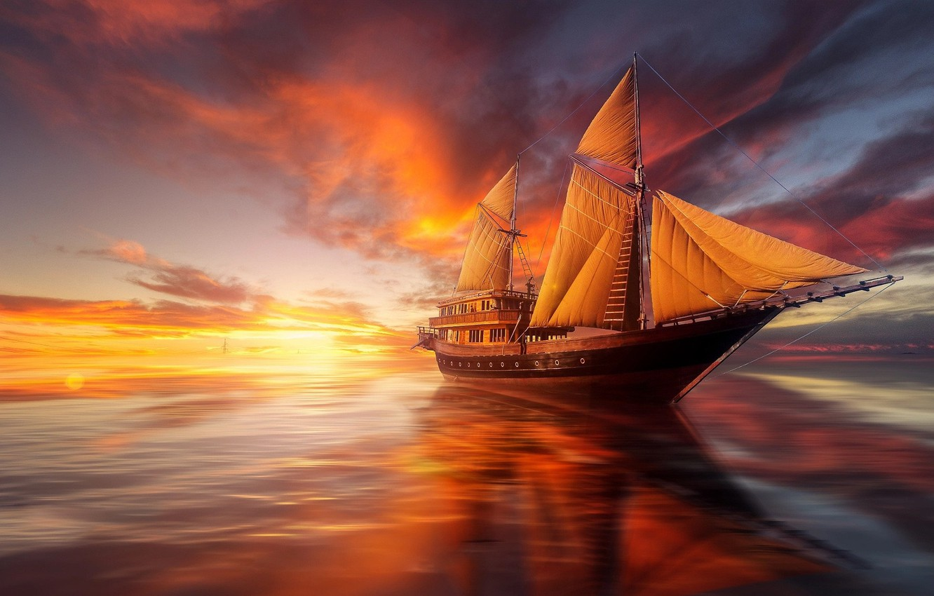 Photo wallpaper sea, sunset, the ocean, ship, sailboat
